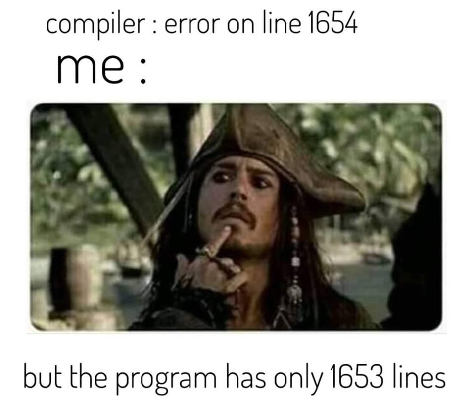 Error on line 1654 but the program has only 1653 lines