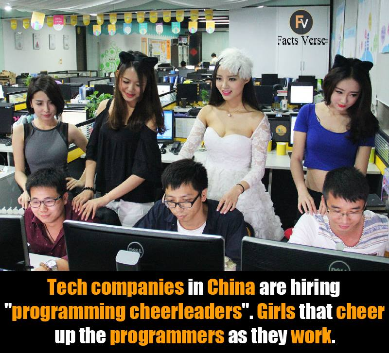 Tech Companies In China Are Hiring Programming Cheerleaders Girls That Cheer Up The Programmers As They Work