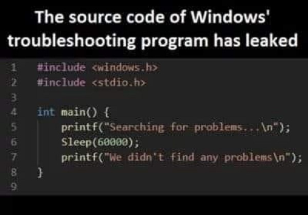 The source code of Windows troubleshooting program has leaked