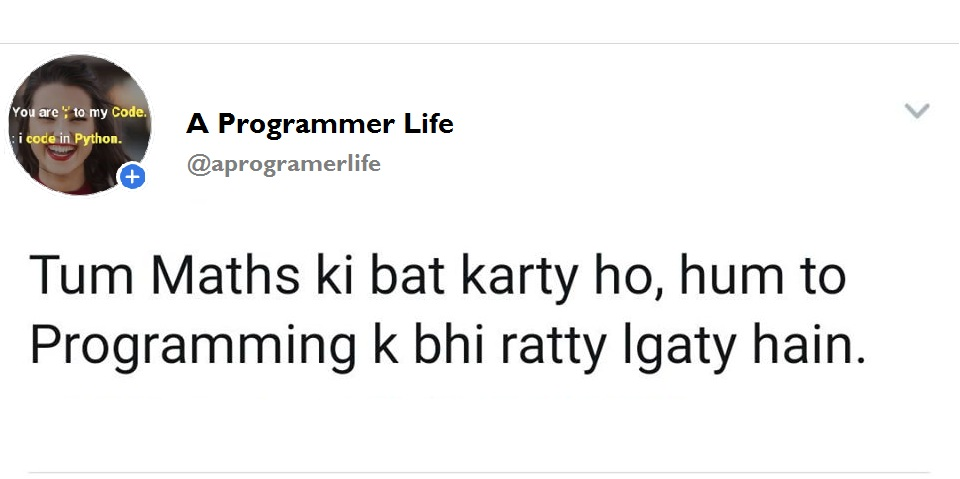 Tum Maths ki bat karty ho, hum to programming k bhi ratty lgaty hain