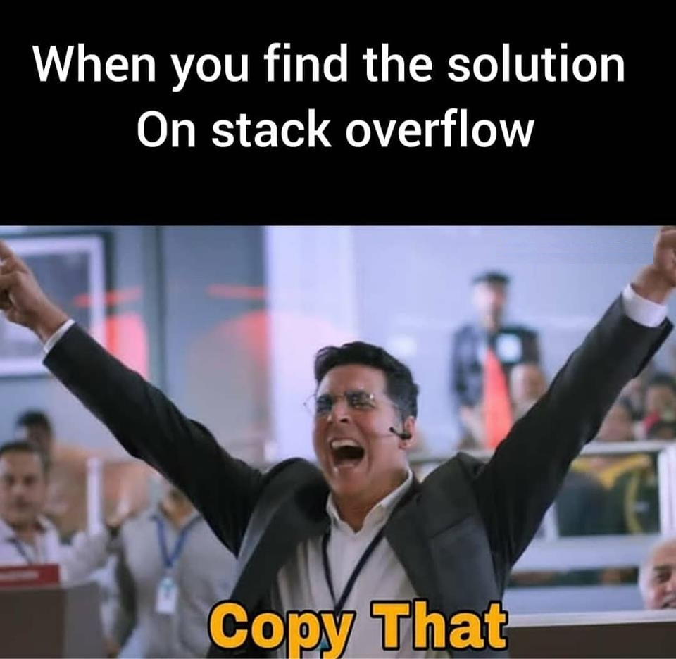 When you find the solution on stack overflow